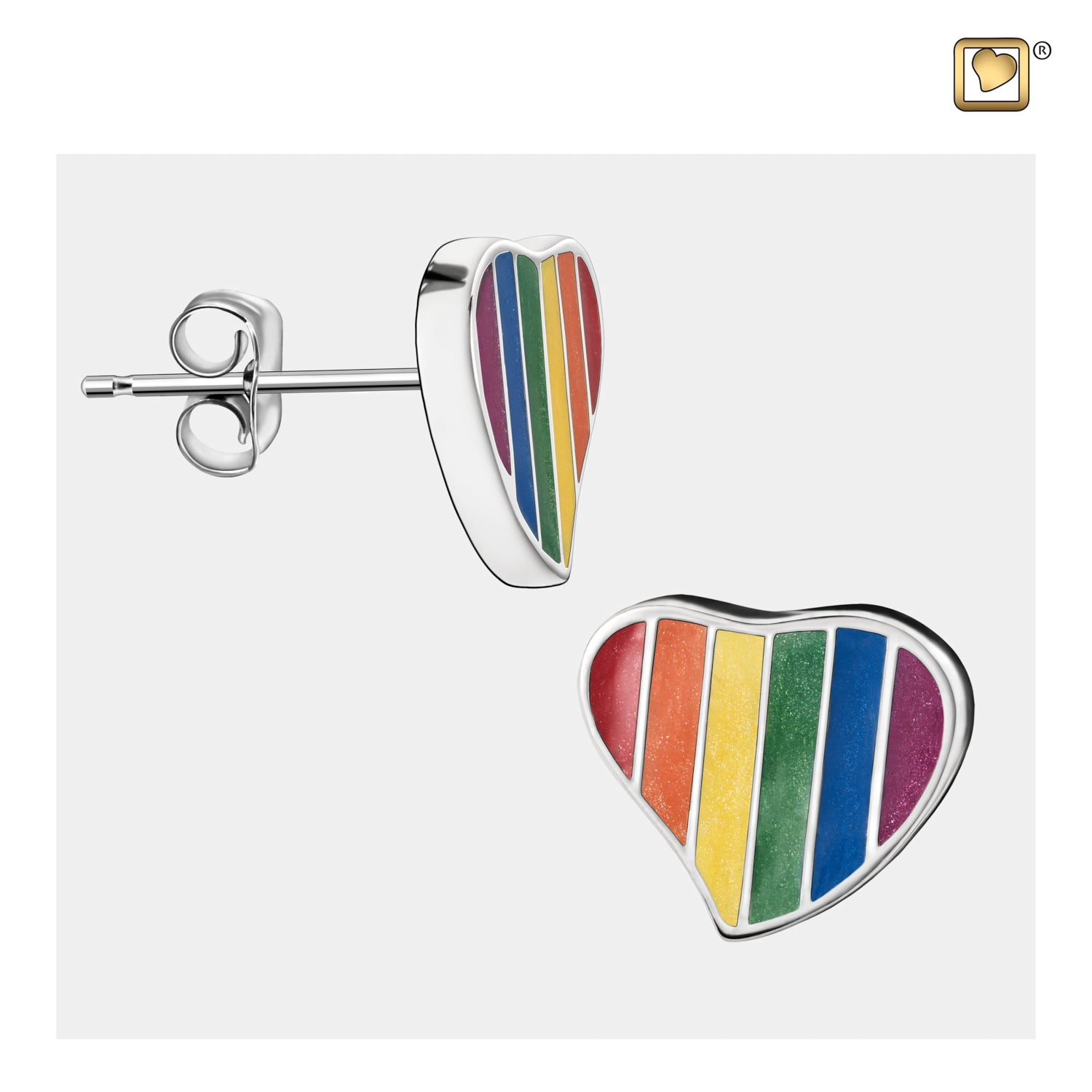 Sterling Silver Stud Earrings Pride Rainbow