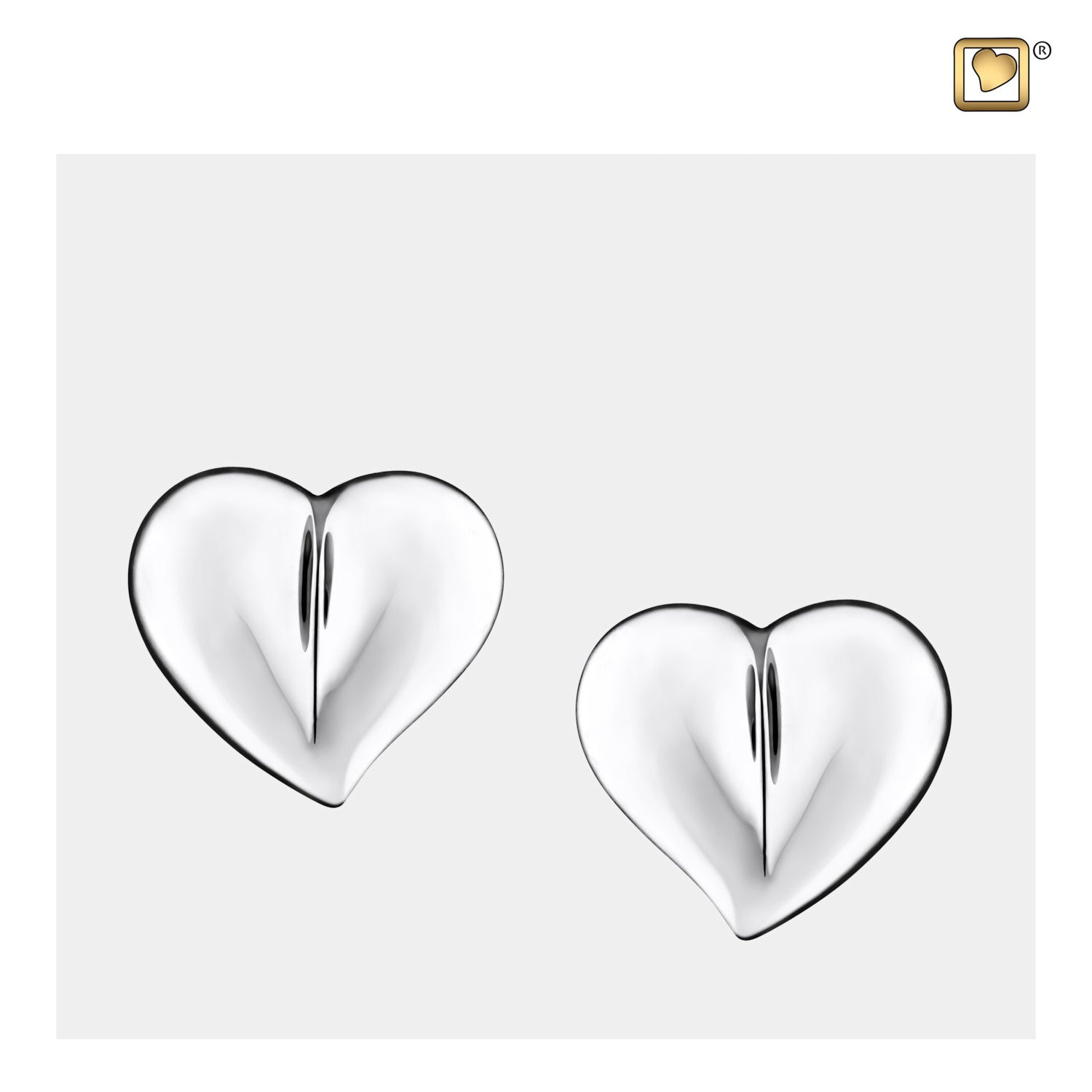 Sterling Silver Stud Earrings LoveHeart Rhodium Plated Cremation Jewelry