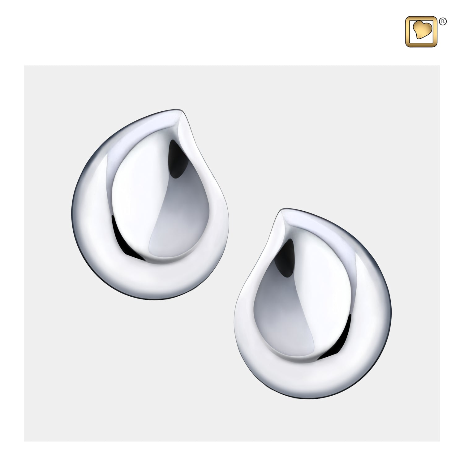 Sterling Silver Stud Earrings TearDrop Rhodium Plated  Cremation Jewelry
