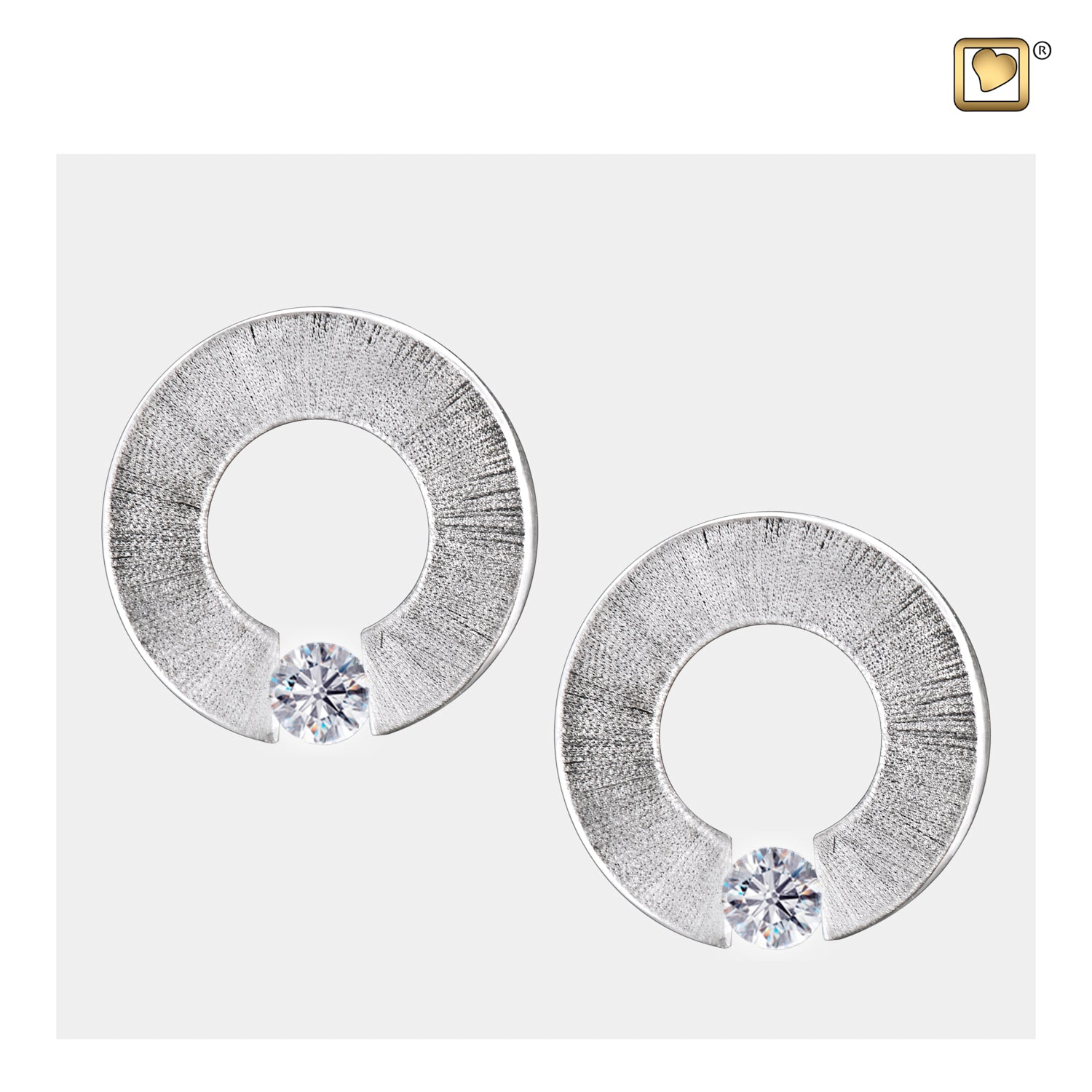 Sterling Silver Stud Earrings Omega Rhodium Plated Two Tone with Clear Crystal Cremation Jewelry