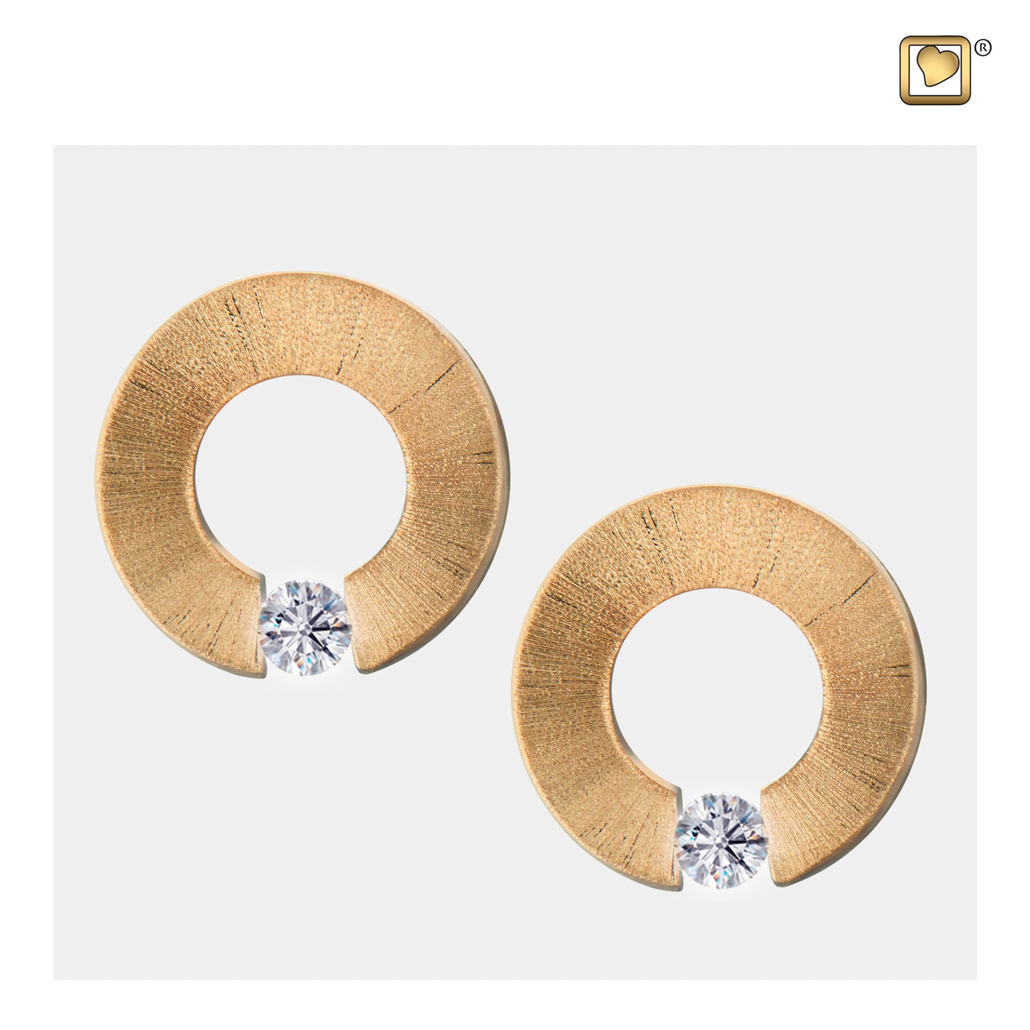 Sterling Silver Stud Earrings Omega Gold Vermeil Two Tone with Clear Crystal Cremation Jewelry