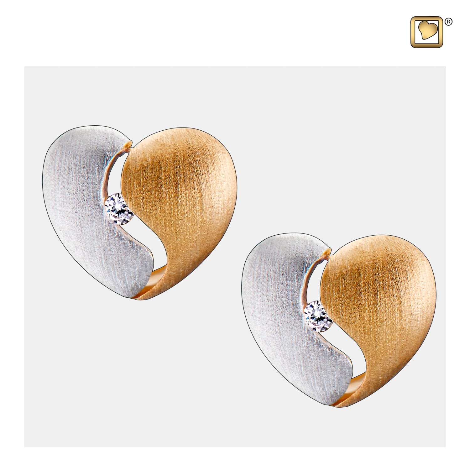 Sterling Silver Stud Earrings Heartfelt Gold Vermeil Two Tone with Clear Crystal Cremation Jewelry