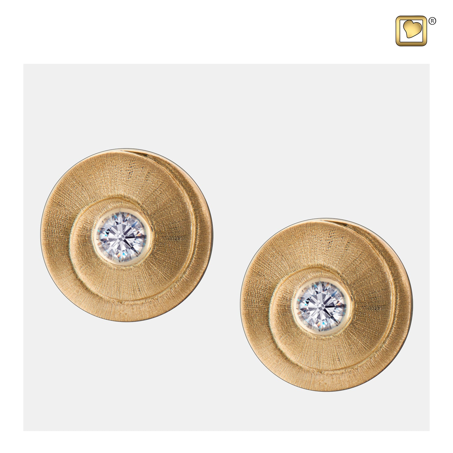 Sterling Silver Stud Earrings Eternity Gold Vermeil Two Tone with Clear Crystal Cremation Jewelry