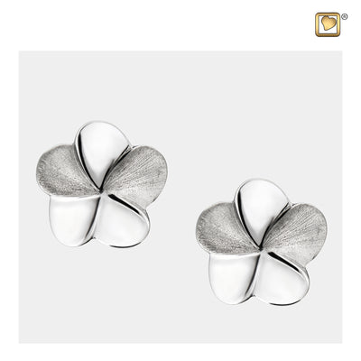 Sterling Silver Stud Earrings Bloom Rhodium Plated Two Tone Cremation Jewelry