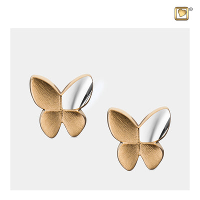 Sterling Silver Stud Earrings Butterfly Gold Vermeil Two Tone  Cremation Jewelry