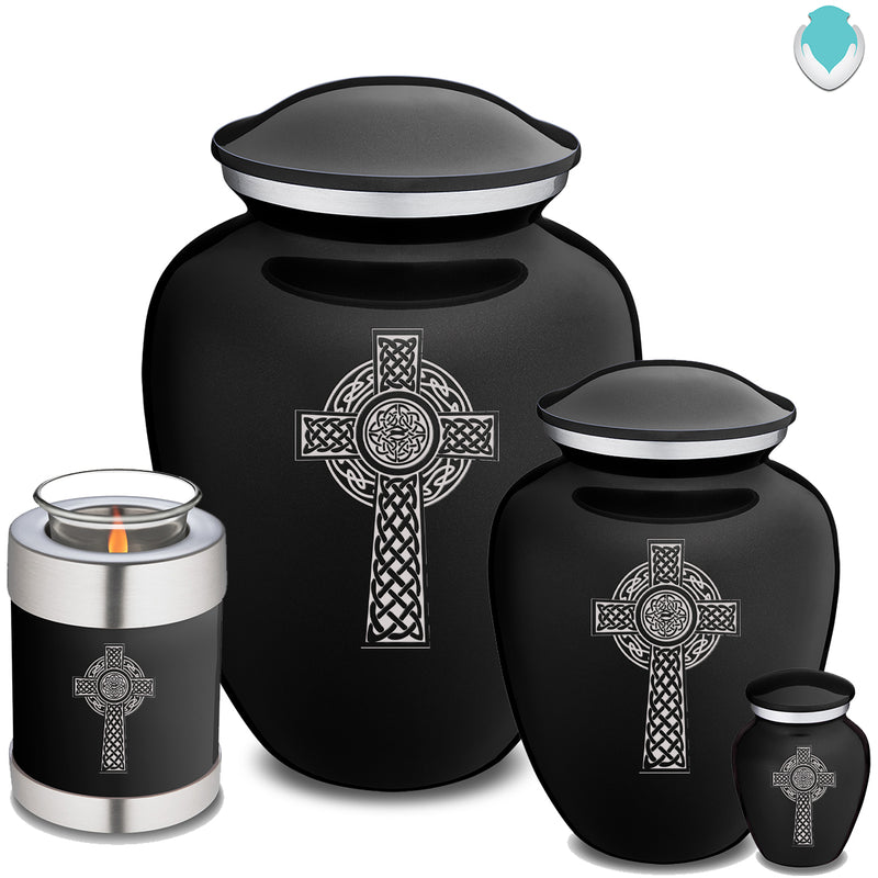 Candle Holder Embrace Black Celtic Cross Cremation Urn