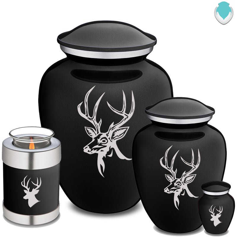 Candle Holder Black Embrace Deer Cremation Urn
