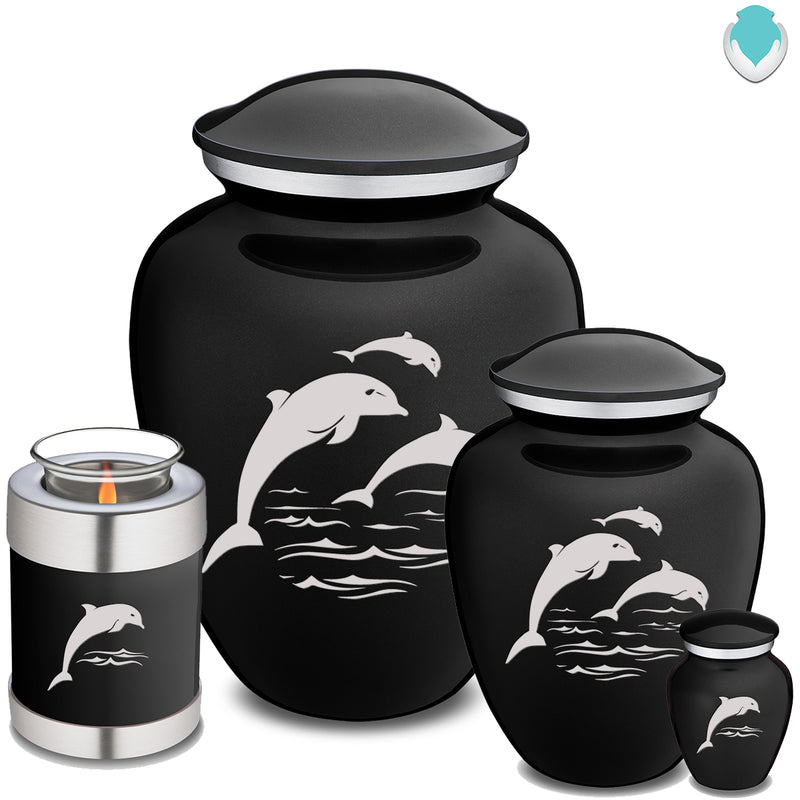 Candle Holder Embrace Black Dolphins Cremation Urn