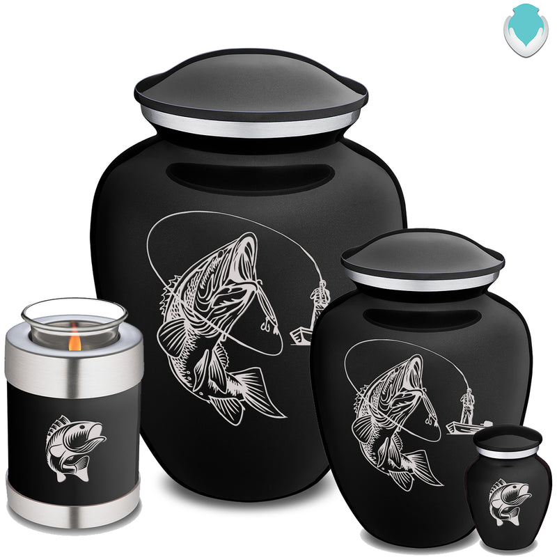 Candle Holder Black Embrace Fishing Cremation Urn