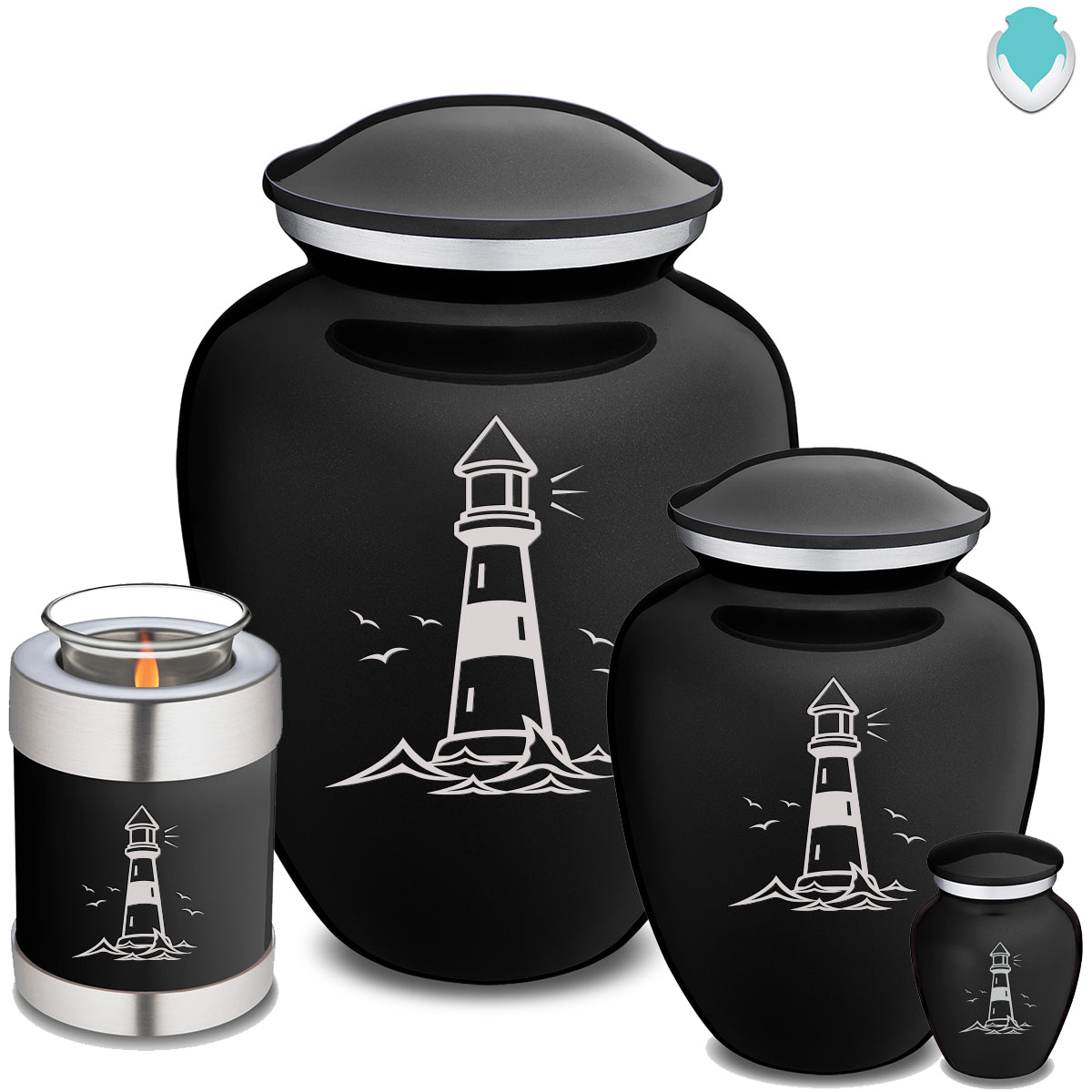 Candle Holder Black Embrace Lighthouse Cremation Urn