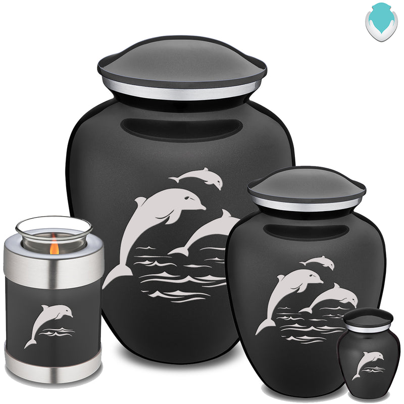 Candle Holder Embrace Charcoal Dolphins Cremation Urn