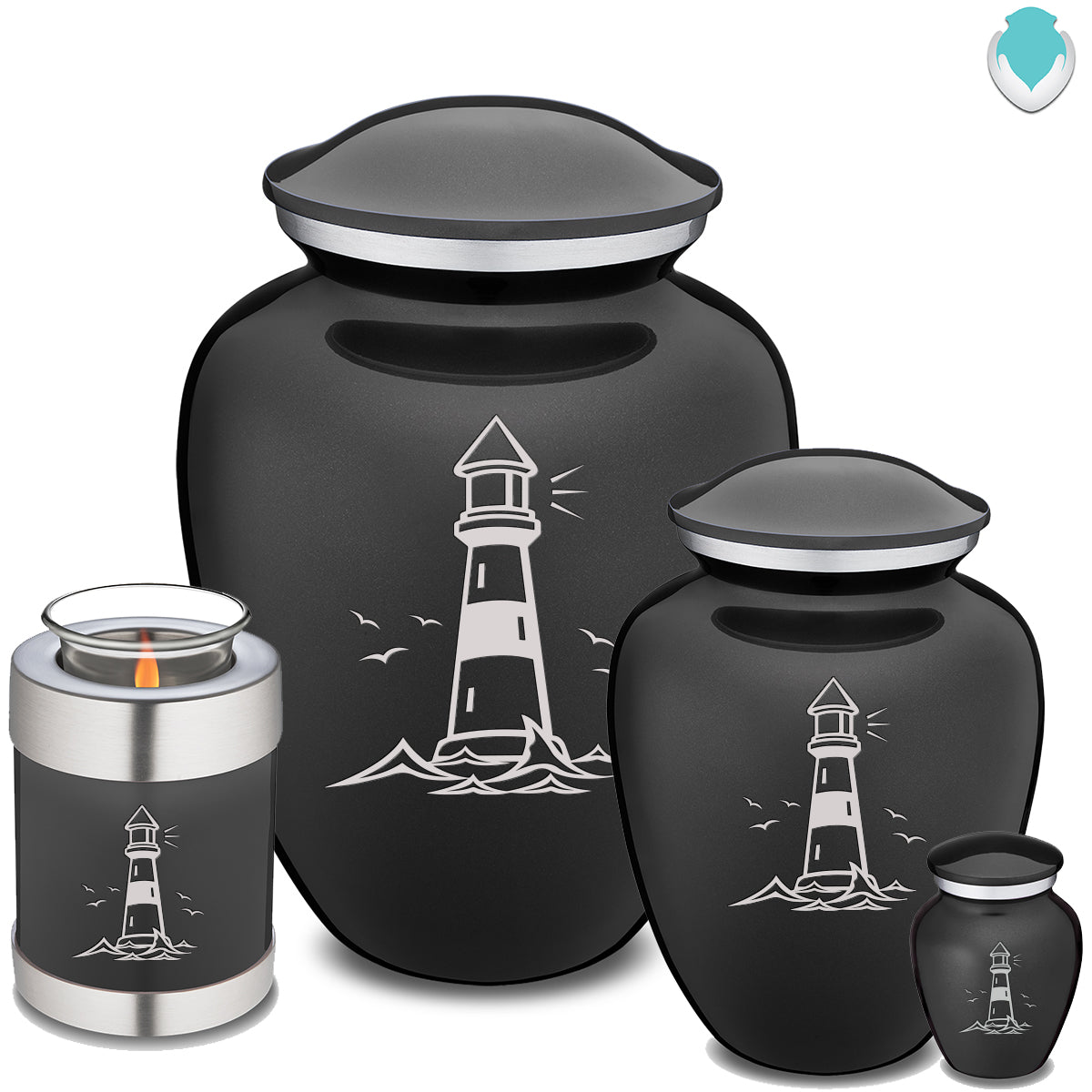 Adult Embrace Charcoal Lighthouse Cremation Urn
