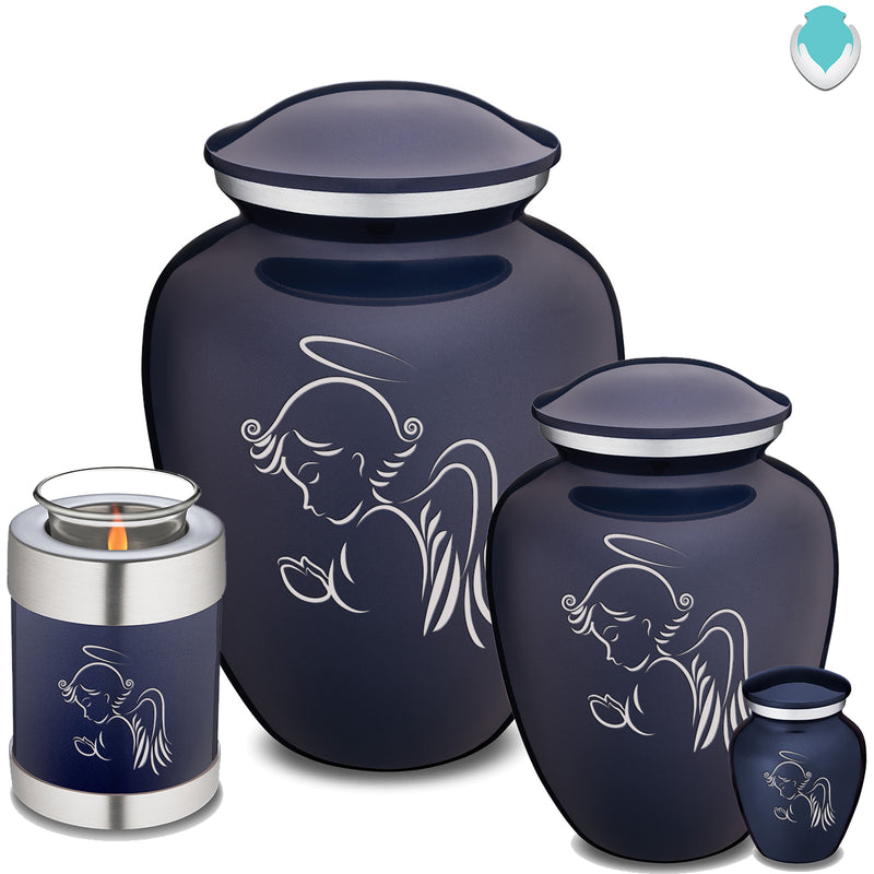Candle Holder Embrace Cobalt Blue Angel Cremation Urn