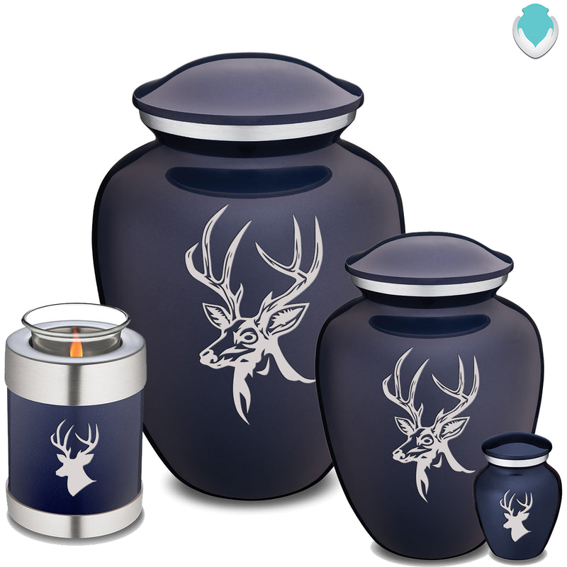 Candle Holder Embrace Cobalt Blue Deer Cremation Urn