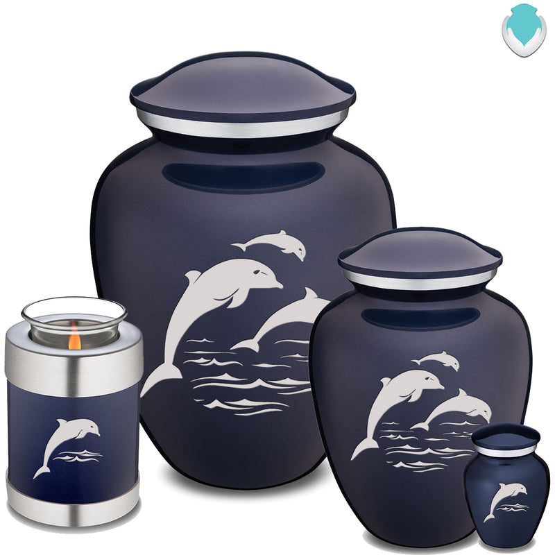 Candle Holder Embrace Cobalt Blue Dolphins Cremation Urn
