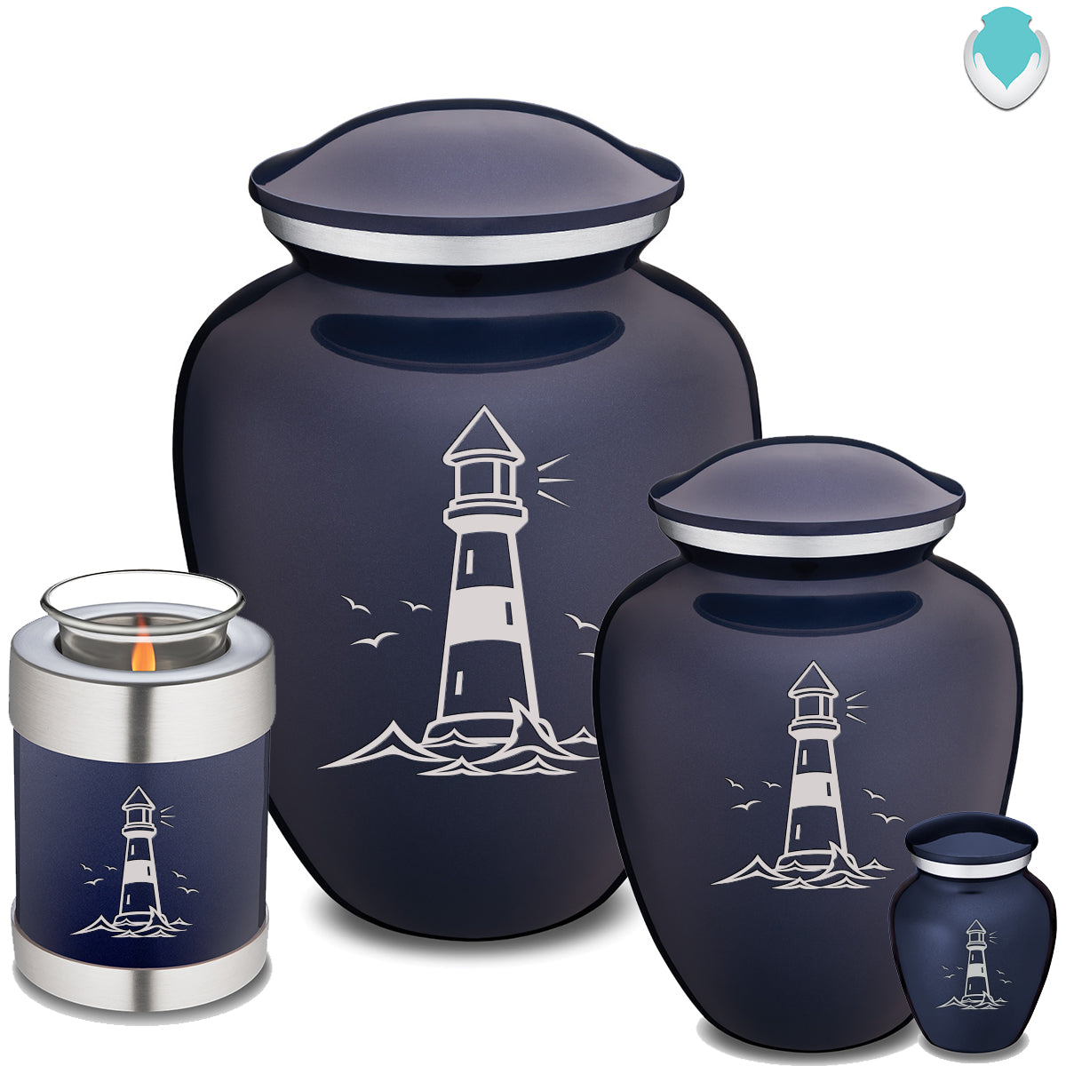 Candle Holder Embrace Cobalt Blue Lighthouse Cremation Urn