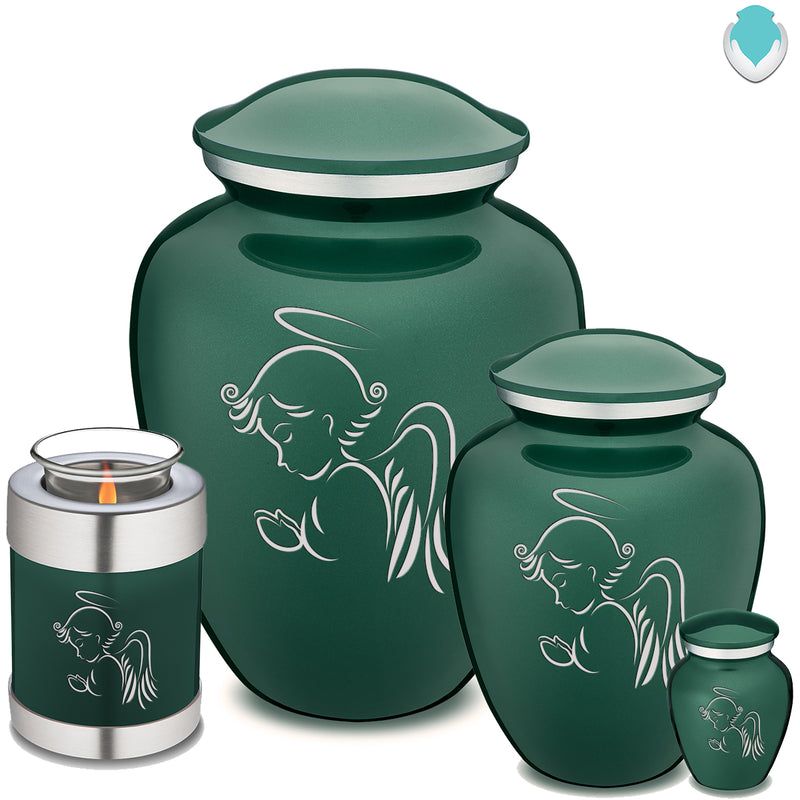 Candle Holder Embrace Green Angel Cremation Urn