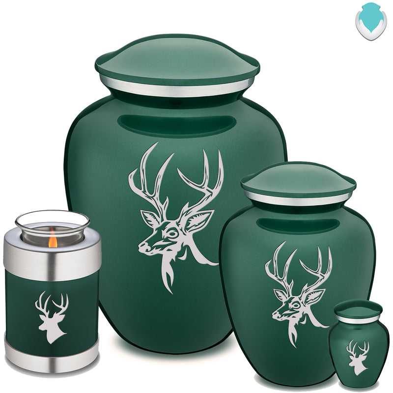 Candle Holder Embrace Green Deer Cremation Urn