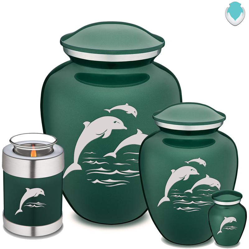Candle Holder Embrace Green Dolphins Cremation Urn