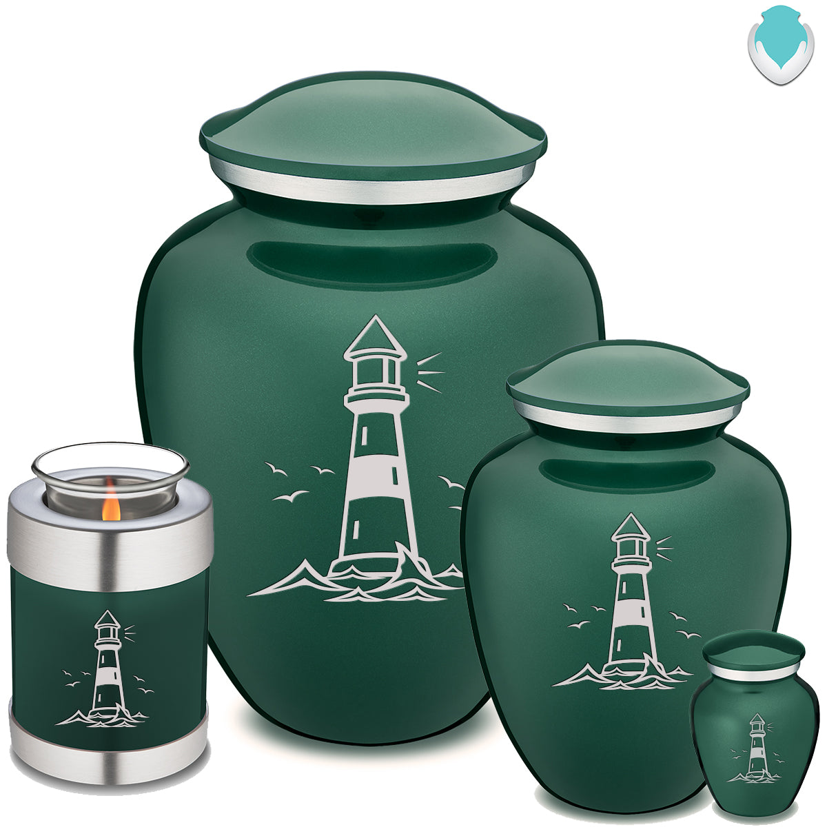 Candle Holder Embrace Green Lighthouse Cremation Urn