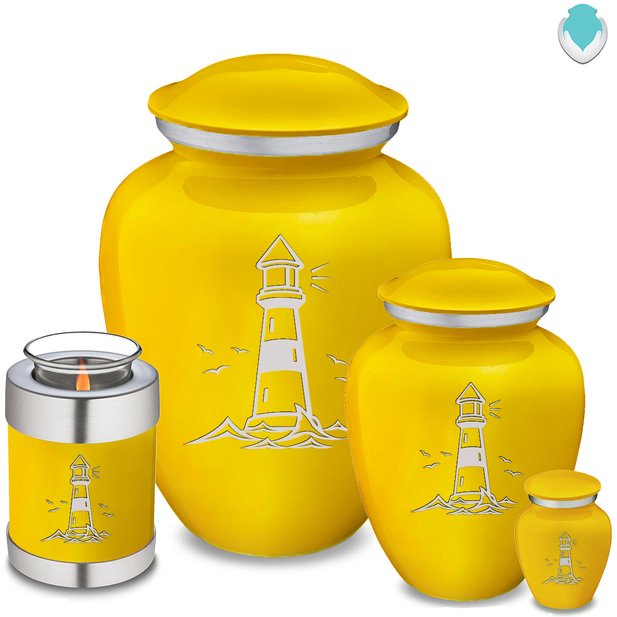 Candle Holder Embrace Yellow Lighthouse Cremation Urn