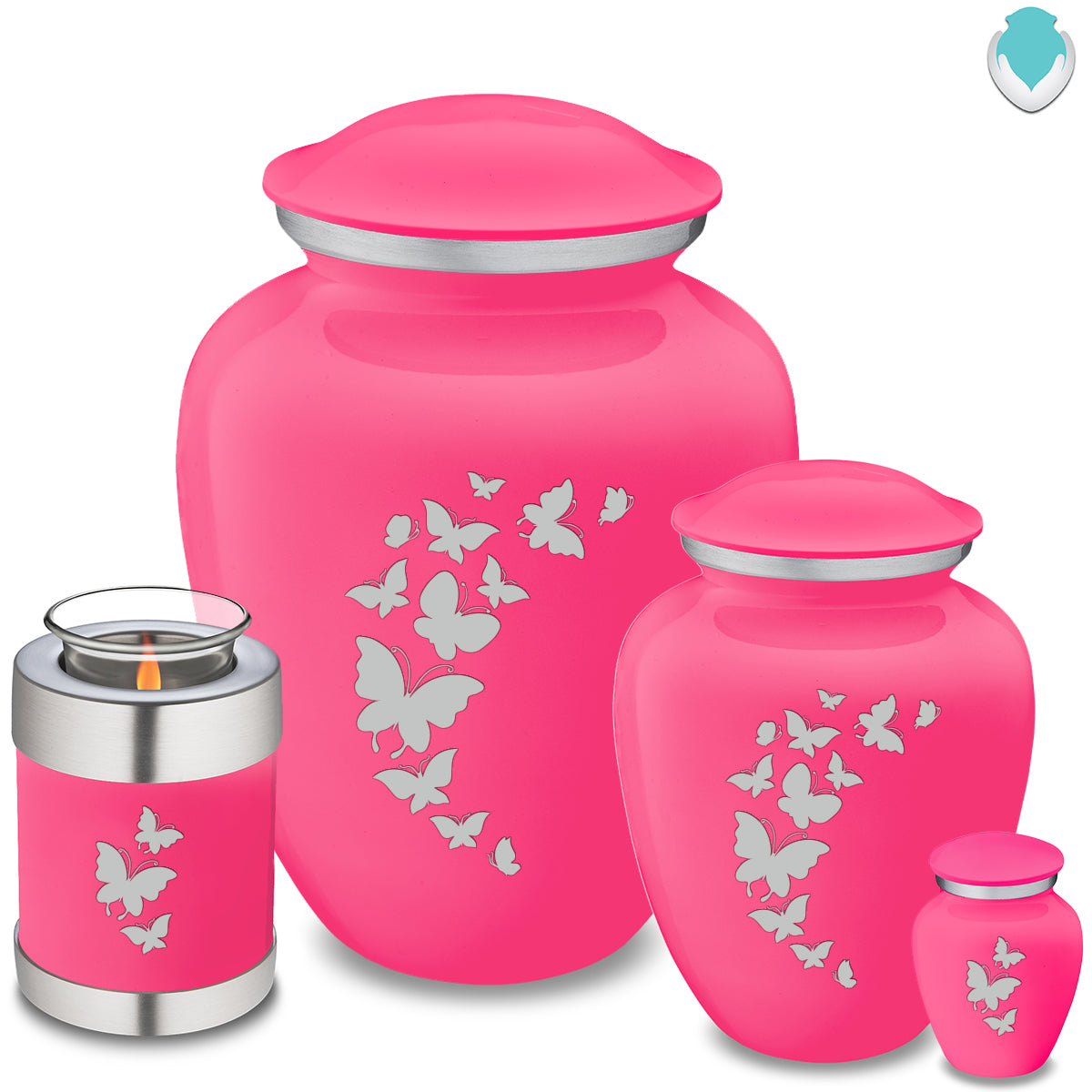 Candle Holder Embrace Bright Pink Butterfly Cremation Urn