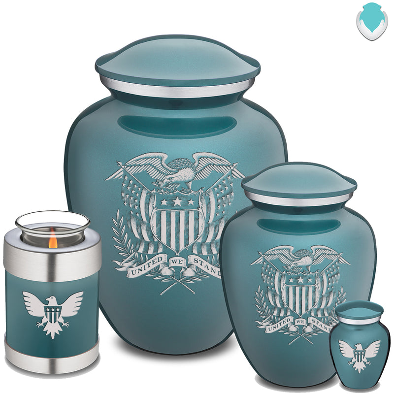 Candle Holder Embrace Teal American Glory Cremation Urn