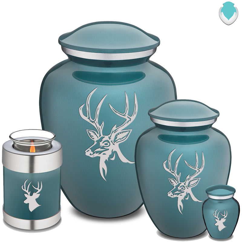 Candle Holder Embrace Teal Deer Cremation Urn