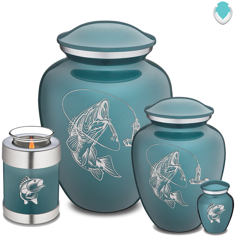 Candle Holder Embrace Teal Fishing Cremation Urn