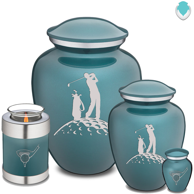 Candle Holder Embrace Teal Golf Cremation Urn
