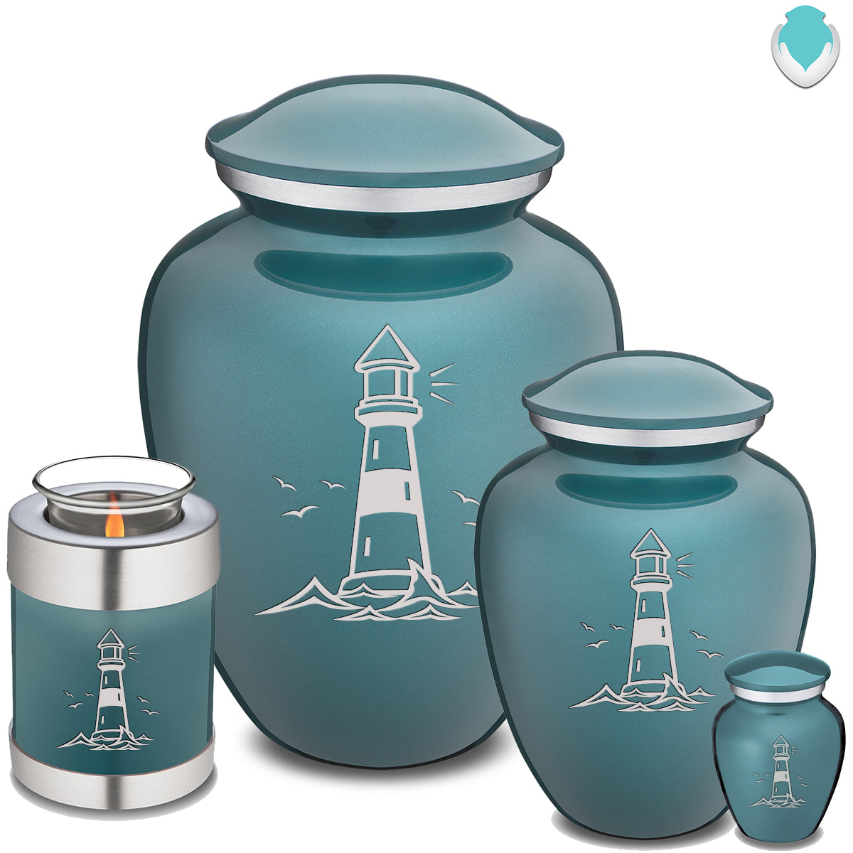 Candle Holder Embrace Teal Lighthouse Cremation Urn