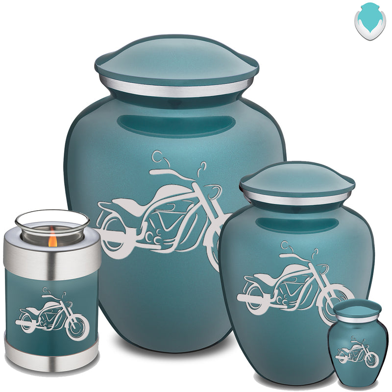 Candle Holder Embrace Teal Motorcycle Cremation Urn