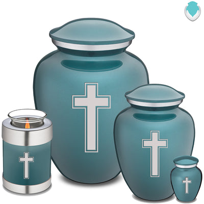 Candle Holder Embrace Teal Simple Cross Cremation Urn