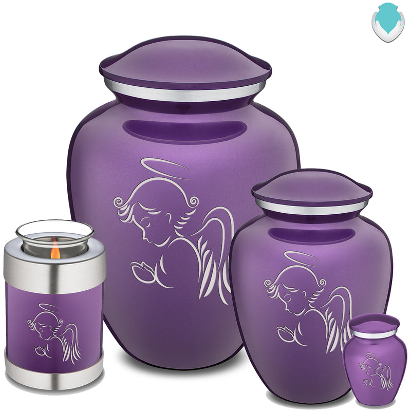 Candle Holder Embrace Purple Angel Cremation Urn