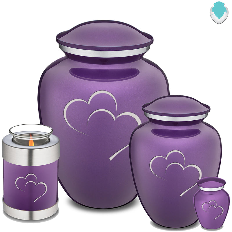 Candle Holder Embrace Purple Hearts Cremation Urn