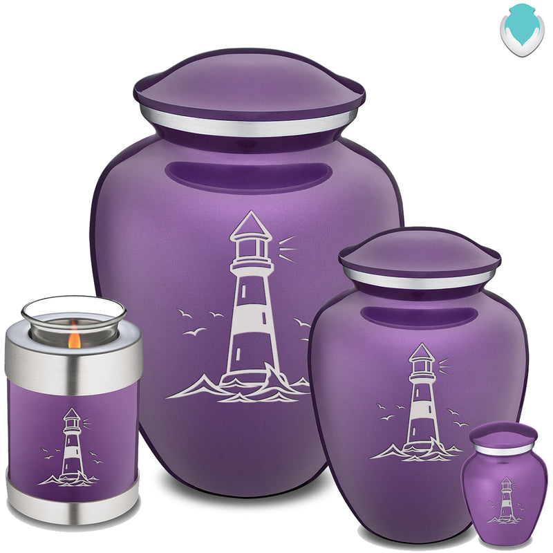 Candle Holder Embrace Purple Lighthouse Cremation Urn
