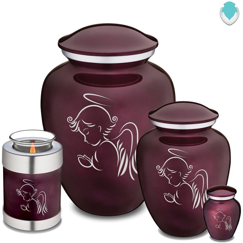 Candle Holder Embrace Cherry Purple Angel Cremation Urn