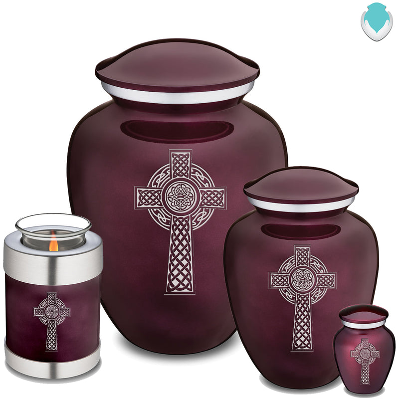Candle Holder Embrace Cherry Purple Celtic Cross Cremation Urn