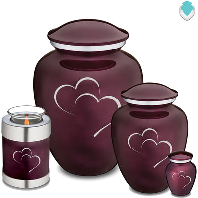 Candle Holder Embrace Cherry Purple Hearts Cremation Urn