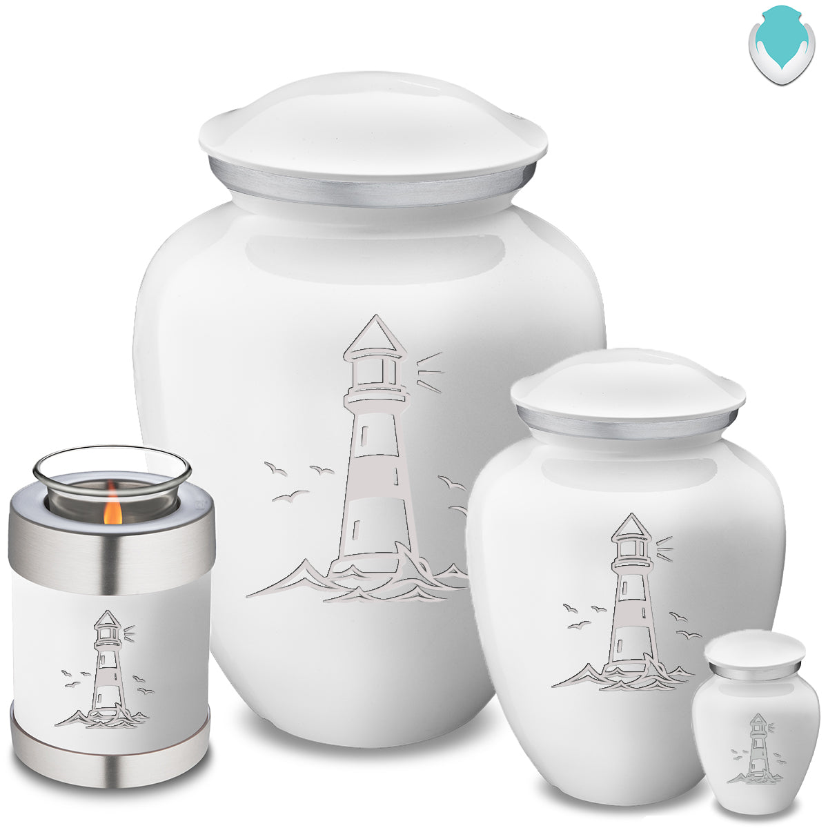 Candle Holder Embrace White Lighthouse Cremation Urn