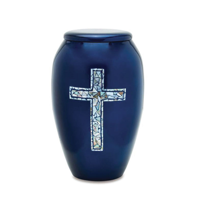 Adult Blue Cross Mother of Pearl Cremation Urn