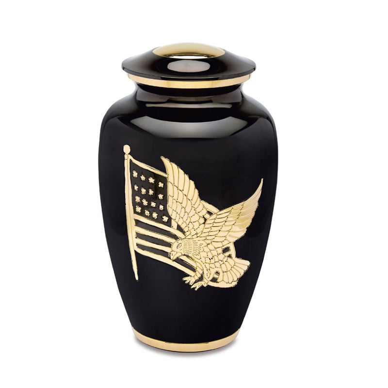 American Pride Black/Gold Cremation Urn