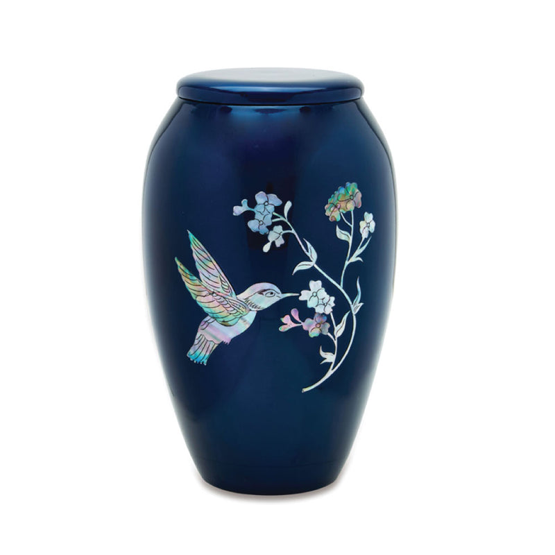 Blue Hummingbird Mother of Pearl Cremation Urn