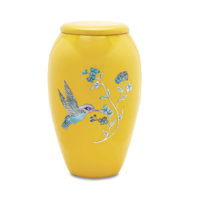 Yellow Hummingbird Mother of Pearl Cremation Urn