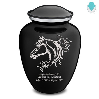 Adult Embrace Black Horse Cremation Urn