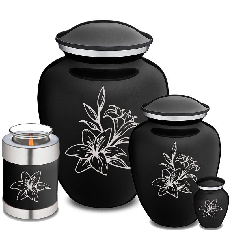 Adult Embrace Black Lily Cremation Urn