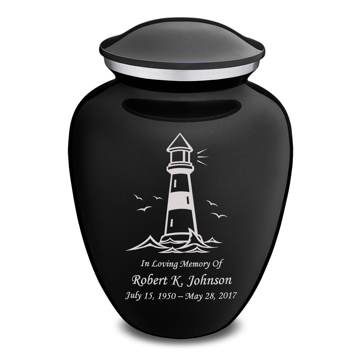 Adult Embrace Black Lighthouse Cremation Urn
