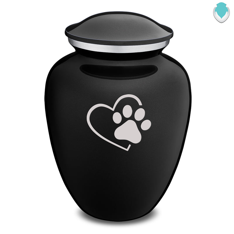 Large Embrace Black Single Heart Paw Pet Cremation Urn