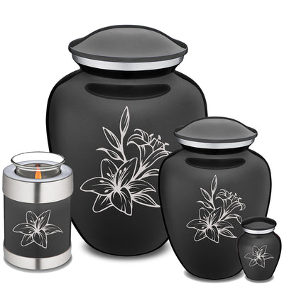 Adult Embrace Charcoal Lily Cremation Urn