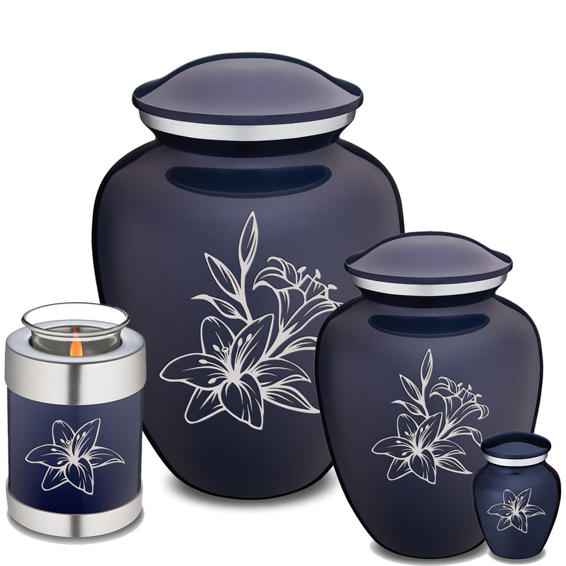 Adult Embrace Cobalt Blue Lily Cremation Urn